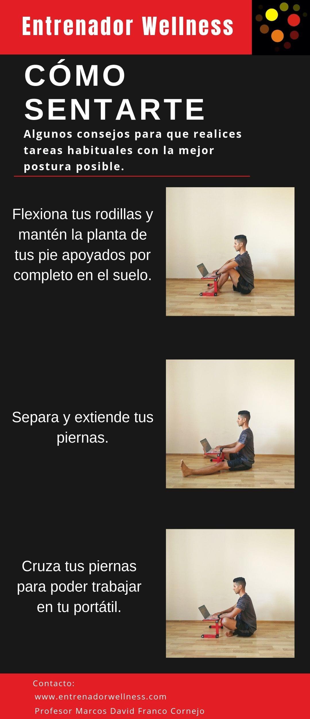 Como sentarse correctamente en el piso para trabajar con el portátil