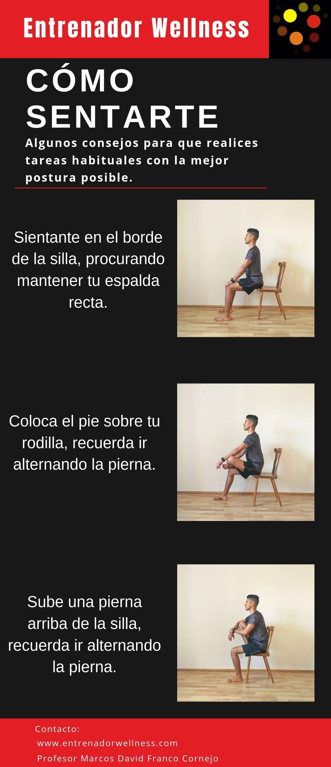 Siéntate adecuadamente en una silla