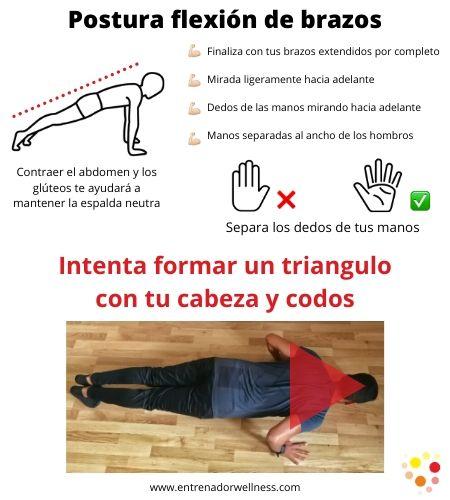Flexiones de brazos para mujeres como tener una postura correcta y consejos en una imagen.